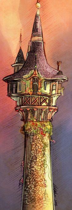 watercolor disney rapunzel tower - Google Search