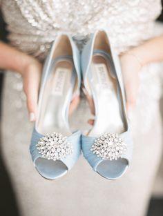 Photography : Kristin La Voie Photography | Shoes : Badgley Mischka | Wedding Dress : Judd Waddell Read More on SMP: http://www.stylemepretty.com/illinois-weddings/chicago/2015/07/01/elegant-spring-wedding-at-bridgeport-art-center/