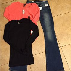 GAP NWT bundle size 24R/XS NWT bundle includes a pair if curvy jeans size 24R jeans have a 32in  inseam A cotton shirt size Xs and a lightweight summer sweater size XS retail tags attached no flaws GAP Other
