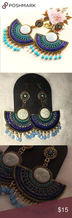 "Blue boho stone post earrings Gorgeous blue stone boho post earrings. Never worn. 3"" long. ASOS Jewelry Earrings"