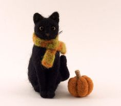 Halloween Needle Felted Black Cat with Pumpkin and Scarf on Etsy, Sold