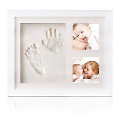 CHARMANTE Baby Handabdruck und Fußabdruck DIY-Set mit schadstofffreiem Lehm, kostbarem Bilderrahmen aus Holz und Acrylglas und Foto als Andenken für die ersten Jahre Ihres Kleinkindes - das ideale Babyparty Geschenk