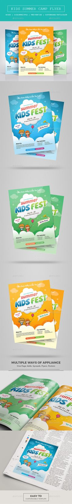 Kids Summer Camp Flyer Template PSD. Download here: https://graphicriver.net/item/kids-summer-camp-flyer/17172850?ref=ksioks