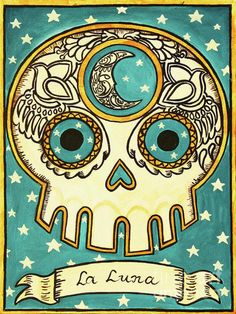 La Luna Day of the Dead skull. #Day_of_the_Dead #skull