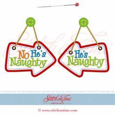 621 Christmas : He's Naughty Applique 5x7