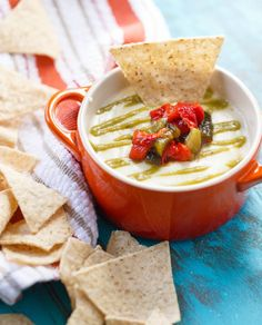 This is no ordinary queso. It's drizzled with a flavor-packed roasted poblano sauce and a sweet-spicy-tangy pepper relish, making for one irresistible dip!