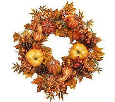 "26"" fall pumpkin wreath by Valerie Parr Hill @ e-bay"