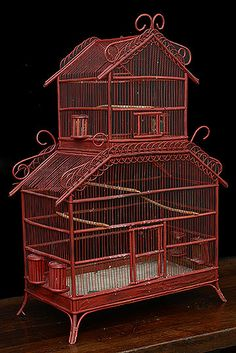 French Antique Colonial style Bamboo Cage
