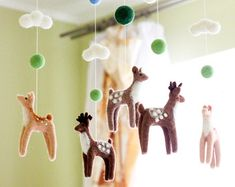 Needle Felted Baby Mobile Forest animals by WoolenTenderness