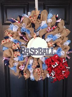 Large Burlap Baseball Wreath Americana Red by DesignTwentyNineSC, $77.50