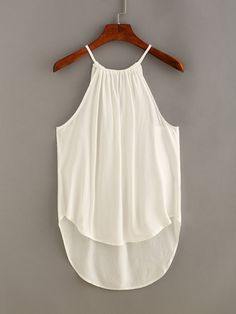 To find out about the Keyhole Drawstring Neck High-Low Top at SHEIN, part of our latest Tank Tops & Camis ready to shop online today! Crop Top Outfits, Cute Casual Outfits, Simple Outfits, Blouse Styles, Blouse Designs, Color Combinations For Clothes, Clothing Hacks, Summer Fashion Outfits, Fashion 101