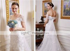 Trumpet/Mermaid Wedding Dress - Ivory Court Train Off-the-shoulder Lace / Tulle 4852347 2016 – $189.99