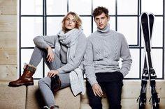 Anna Jagodzinska and Danish Model Mathias Lauridsen by Quentin De Briey for the Massimo Dutti Après Ski Fall Winter 2014-2015 Campaign