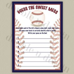 INSTANT DOWNLOAD  Baseball Guess the Sweet Mess by doubleudesign, $7.00