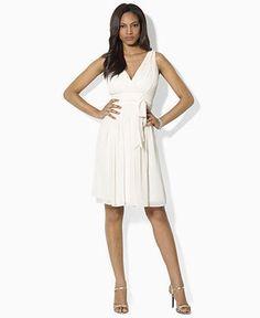 Lauren By Ralph Dress Sleeveless Chiffon Pleated A Line