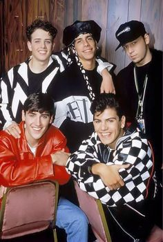 NKOTB- old school- what the heck is Danny wearing on his head!? LOL