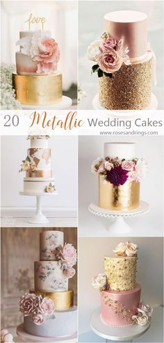 Wedding Cake Trends – 20 Metallic Wedding Cakes metallic gold wedding cake ideas This image. Metallic Cake, Metallic Wedding Cakes, Floral Wedding Cakes, Wedding Cake Rustic, Elegant Wedding Cakes, Wedding Cake Designs, Wedding Cake Toppers, Metallic Gold, Trendy Wedding