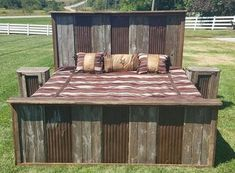 Rustic Bed Tin River Authentic Barn Wood Bed Complete Set Headboard Footboard Side Rails & 2 Nightstands Full Queen or King Furniture Styles, Rustic Furniture, Bedroom Furniture, Outdoor Furniture Sets, Furniture Design, Bedroom Décor, Mirrored Furniture, Furniture Websites, Barn Tin