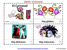 Spanish Carnival 2 Elementary Emergent Reader Booklets by Sue Summers - El Carnaval - One with text and illustrations, one with text only so students can sketch and create their own versions of the booklets.