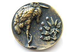 Antique Victorian brass metal picture button w/cut steels