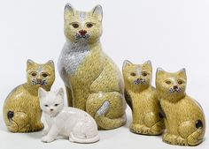 Lot 435: Asian Cloisonne Cat Figurines; Including four contemporary cloisonne cat figurines and one ceramic seated cat figurine