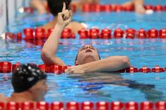 AUGUST 02: Tyler Clary of the United States celebrates after winning the gold in the Men's 200m Backstroke final on Day 6 of the London 2012 Olympic Games at the Aquatics Centre on August 2, 2012 in London, England. (Photo by Clive Rose/Getty Images)