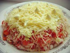 http://zpdlo.com 🔶СЛОЕНЫЙ САЛАТ С КРАБОВЫМИ ПАЛОЧКАМИ Потребуется по слоям: крабовые палочки 200 грамм, 2 помидора, 1 салатный перец, 100 грамм сыра, 2 яйца. Сыр и яйца натереть на мелкой терке,...