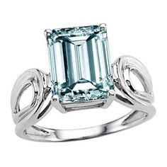 Tommaso Design(tm) Genuine Large Emerald Cut Aquamarine Ring in 14 kt White Gold Size 8.5