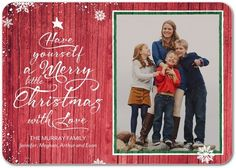 Rustic Snowfall - Flat Holiday Photo Cards - Fine Moments - Scarlet - Red…