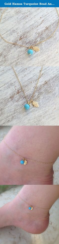 """Gold Hamsa Turquoise Bead Anklet Bracelet. Gold hamsa anklet bracelet, made with a beautiful tiny gold hamsa and turquoise bead. Perfect look for the summer! A very dainty , simple, small, cute and comfortable anklet. Perfect for everyday. Make yourself happy with good luck jewelry :) Bracelet Measures Approximately 9""""- as default ***Please select a size from the options*** Made from 14k gold filled chain and pendant All my jewelry are packed in an elegant gift box. If you want to give it…"""