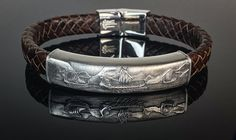Silver and leather bespoke gents bracelet depicting Viking longboats. Made in Chichester, England. 3 Stone Rings, Wide Band Rings, Green Diamond, Diamond Art, Chichester England, Gents Bracelet, 3 Stone Engagement Rings, Gold Feathers, Bespoke Jewellery