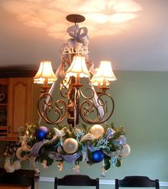Christmas Chandelier dining room table
