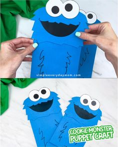 C is for Cookie Monster! Make this cute and easy paper bag Cookie Monster craft with the kids. It comes with a free printable template so it's easy to recreate at home or in the classroom. It's perfect for preschool prek and kindergarten children. Monster Activities, Monster Crafts, Kindergarten Activities, Cookie Monster Puppet, Cookie Monster Party, Toddler Crafts, Preschool Crafts, Preschool Christmas, Christmas Crafts