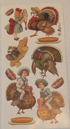 Items similar to Wonderful new Victorian Violette Thanksgiving day turkeys corn children pumpkin pie stickers for scrapbooking envelopes card making crafts on Etsy Retro Floral, Decoupage, Card Making, Thanksgiving, Collage, Victorian, Romantic, Scrapbook, Stickers