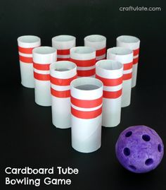 Cardboard Tube Bowling Game - Craftulate : Cardboard Tube Bowling Game - a homemade toy to keep the kids entertained! Make this cardboard tube bowling game to keep the kids entertained! A fun and frugal upcycled homemade toy. Kids Crafts, Toddler Crafts, Crafts To Make, Yarn Crafts, Paper Games For Kids, Carnival Games For Kids, Cardboard Tube Crafts, Toilet Paper Roll Crafts, Cardboard Playhouse