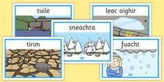 Display posters with commonly used, varied words and phrases for describing the weather in Irish. Weather Display, Third, Irish, Posters, Words, Irish People, Poster, Postres, Irish Language