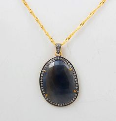 925 STERLING SOLID SILVER GELD VERMEIL BLUE SAPPHIRE CZ CHAIN NACKLACE #Handmade #Pendant