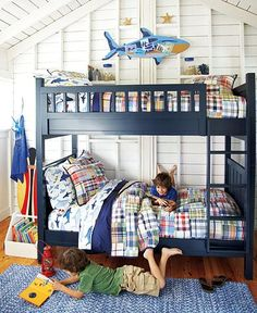 For the boys room-love the blue, might need to add a trundle for boy #3, or just another twin bed.