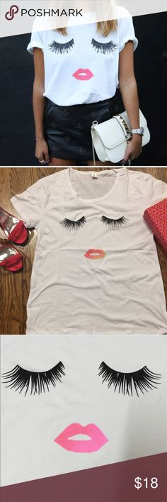 Cute Eyelashes & Lips Short Sleeve T Shirt Super Cute Eyelash & Lips Short Sleeve 100% Cotton Casual T-Shirt or Top  New without Tags  Material: 100% cotton  M: Bust 35 inches Length: 25 inches  L: Bust 38 inches; Length: 26 inches.  More sizes to be delivered soon! Tops Tees - Short Sleeve