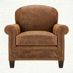 Landmark Leather Chair in Vintage Saddle   Arhaus Furniture