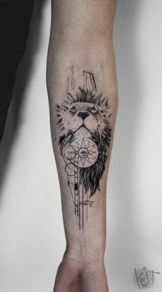By Koit, Berlin. Forearm black tattoo - lion, compass and Illuminati. Graphic style tattoo Inked arm Tattoo ideas KOit Tattoo Tattoo artist Germany tattoo artists Animal tattoo Compass tattoo tattoos for guys Inspiration Black tattoo Wolf Tattoos, Lion Forearm Tattoos, Forearm Tattoo Design, Tribal Tattoo Designs, Elephant Tattoos, Leg Tattoos, Black Tattoos, Body Art Tattoos, Sleeve Tattoos