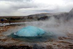 Strokkur eruption - geysir bubble forming