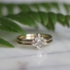 White/ Clear Geometric Diamond Engagement and Wedding Ring Set, 14k Yellow Gold