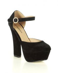 #ChiaraFashion Black Velvet High Heel Platform Court Shoes