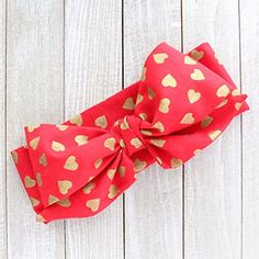 Ruby Hearts Valentine's Day Fabric Top Knot Big Bow Headband Head Wrap, One Size Fits All