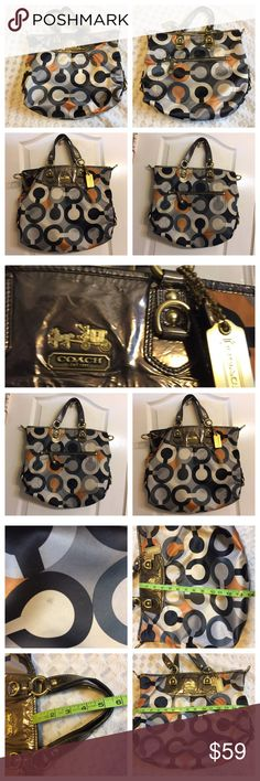 ***Authentic COACH***Handbag. ***Authentic COACH***Handbag. Has an interior zipper and 2  wall pockets. Has a dark dot mark shown in photos #3. Preowned but Bag is in great condition. Appx size pls see photos attached here. Price is reasonable. I will not entertain low ball offers pls.  No trades. Coach Bags Satchels