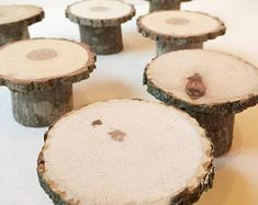 10 cupcake wood stands - mini rustic cake stands for dessert station/buffet or individual place settings Mini Cake Stand, Cupcake Stand Wedding, Cake Pop Stands, Rustic Cupcakes, Rustic Cake Toppers, Wood Wedding Cakes, Wedding Desserts, Rustic Wedding, Forest Wedding