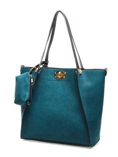 Teal fold-able Wing Tote Bag $49.00