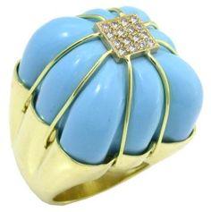 Kara Ross Turquoise 0.50ct Diamond 18k Gold Ring