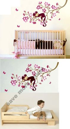 Monkey Hanging Over Tree Kids/nursery - Easy Wall Decor Sticker Wall Decal - Better than wallpaper, wall stickers are a perfect way to decorate your room and express yourself. They are a fun, easy and removable decor solution. These stickers are pre-cut and will only take you ... - Wall Stickers & Murals - Toys - $2.48